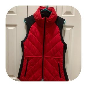 Athleta Red & Black Sleeveless Jacket / Hoodie.